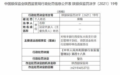 西安恒丰银行贷款资金转定期存单,多人被处罚